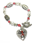 Heart Disease Awareness Silver Hope Strength Courage Charm Bracelet