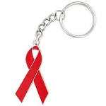 Heart Disease Awareness Red Ribbon Charm Key Chain