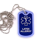 Latex Allergy Medical Alert Dog Tag Necklace or Keychain ID