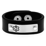 Mens Black Leather Medical ID Bracelet