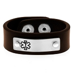 Mens Brown Leather Medical ID Bracelet