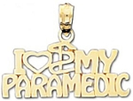 I Love My Paramedic Charm Pendant in 14K Yellow Gold