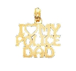 I Love My Police Dad Pendant in 14K Yellow Gold