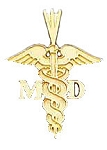 Medical Doctor MD Pendant in Yellow Gold or Sterling Silver