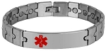 Puzzle Piece Link Stainless Steel Magnetic Medical ID Bracelet