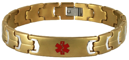 Futura Link Stainless Steel Medical ID Bracelet - Gold Plated
