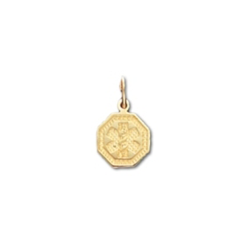 Octagon Medical ID Pendant in 10K, 14K Gold or Silver - 10mm