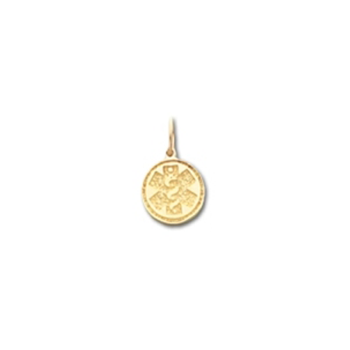 Round Medical ID Pendant in 10K, 14K Gold or Silver - 10mm