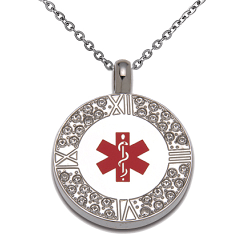 Stainless Steel Medical ID Crystal Pendant Necklace - Round