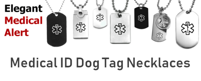 Chic Dog Tag Medical ID Necklace Styles