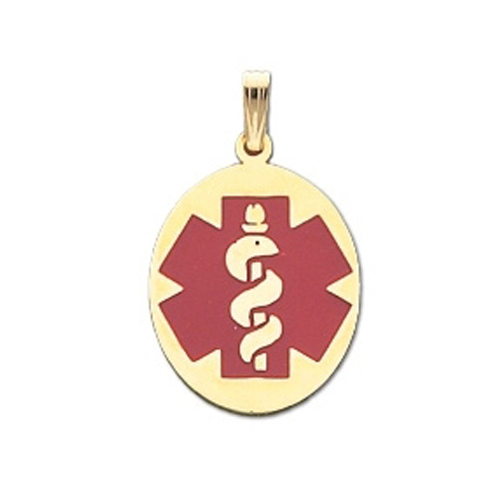 Oval Medical ID Pendant in 10K, 14K Gold or Silver - 20 x 28mm