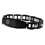 Men's Medical ID Black Stainless Steel Bracelet