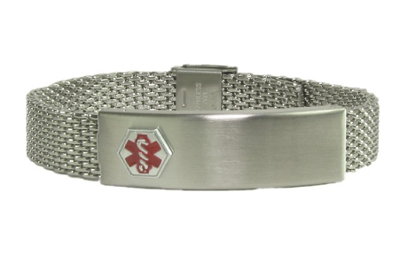 Stainless Steel Mesh Medical Id Bracelet Tap To Expand