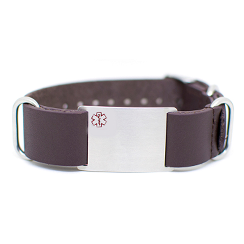 Nato Leather Medical ID Bracelet - Brown