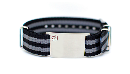 Nato Medical ID Bracelet - Gray Black Stripe - 18mm