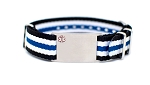 Nato Medical ID Bracelet - Black White Blue Stripe - 18mm