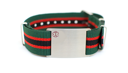 Nato Medical ID Bracelet - Green Black Red Stripe