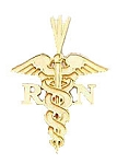Registered Nurse RN Pendant in Yellow Gold or Sterling Silver