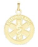 Paramedic Pendant in 10K, 14K Yellow Gold or Sterling Silver - 25mm