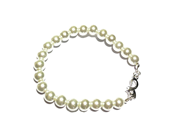 Medical Awareness Silver Ribbon Pearl Bracelet