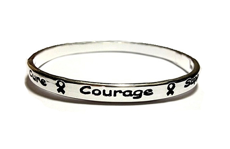 Medical Awareness Silver Ribbon Bangle Bracelet