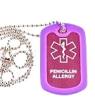 Penicillin Allergy Medical Alert Dog Tag Necklace or Keychain ID