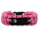 Paracord Medical ID Bracelet for Small Wrists - PINK with Black Tag