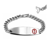 Safety Clasp Medical ID Bracelet - Wide Plaque