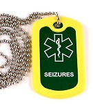 Seizures Medical Alert Dog Tag Necklace or Keychain ID