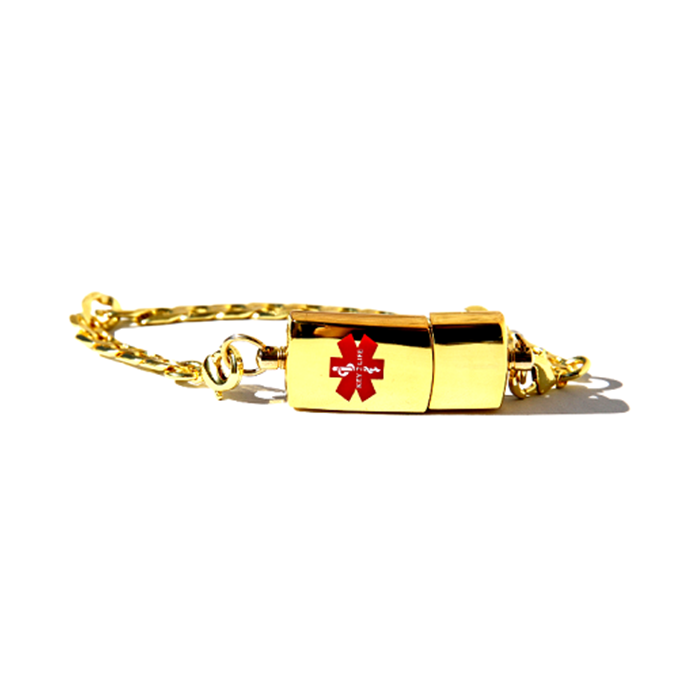 Key 2 Life® EMR Medi-Chip Men's Stylish Throwback USB Bracelet - Gold