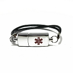Key 2 Life® EMR Medi-Chip Stylish Leather Strap Olympic USB Bracelet