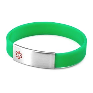 adbeb52e9716b Green Silicone Bracelet with Removable Stainless Steel Medical ID Tag