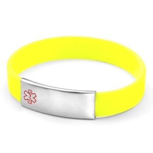 Neon Yellow Silicone Bracelet With Removable Stainless Steel Medical Id Tag