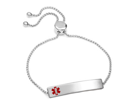 Stainless Steel Bolo Slide Medical ID Bracelet