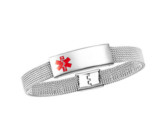 Stainless Steel Adjustable Stretch Mesh Medical ID Bracelet