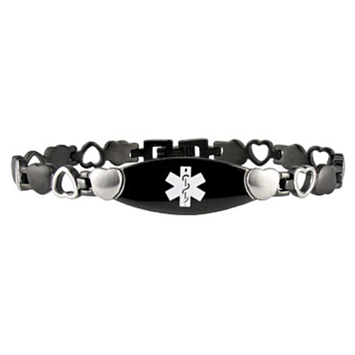 Heart Link Stainless Steel Medical ID Bracelet - Black Tone