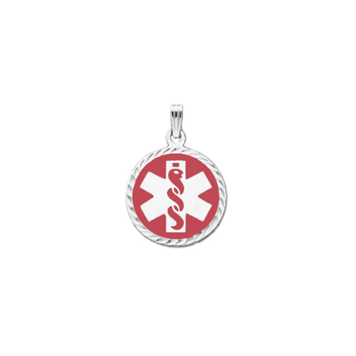 Diamond Cut Medical ID Pendant in Sterling Silver - 22mm