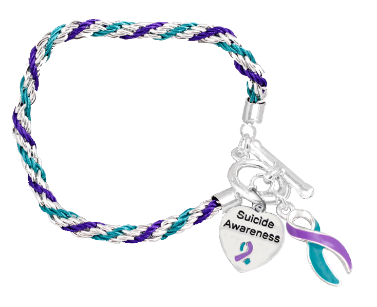 Prevention Awareness Silver Ribbon Teal And Purple Rope Charm Bracelet