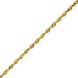 14K Yellow Gold Rope Chain Necklace - 1.5mm Width