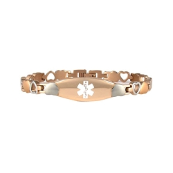 Heart Link Stainless Steel Medical ID Bracelet - Rose Gold