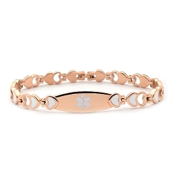 Heart Link Stainless Medical ID Bracelet - Rose Gold White Enamel