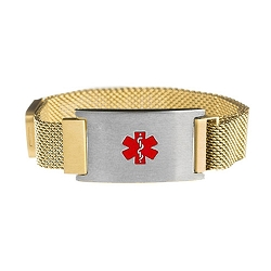 Gold and Silver Tone Magnetic Closure Medical ID Bracelet