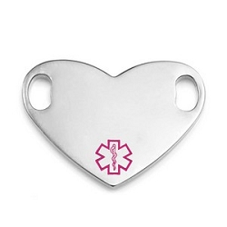 Medical ID Tag for Custom Bracelets - Stainless Heart with Small PINK Symbol - 1 Inch Length