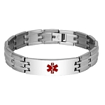 Parallel Link Stainless Steel Medical ID Bracelet