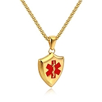 Shield Medical ID Pendant Necklace - Gold Tone