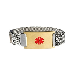 Silver and Gold Tone Magnetic Closure Medical ID Bracelet