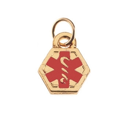 Stainless Steel Gold Plated Double Sided Medical Alert Charm