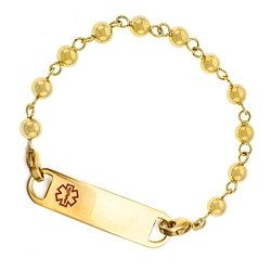 Gold Plated Bead Link Medical ID Bracelet