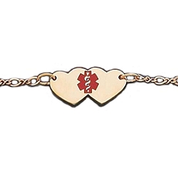 Yellow Gold or Silver Anklet with Red Medical Symbol - Hearts