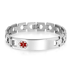 Zig Zag Link Stainless Steel Hexagon Medical ID Bracelet